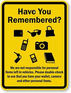 non responsable not responsible for personal items left in vehicles sign