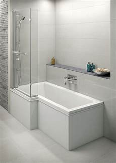 Moods L Shaped Shower Bath Screen With Integrated Mixer