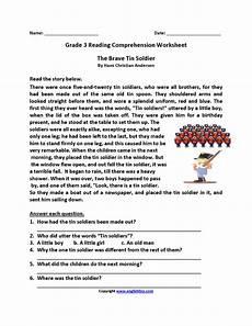 poetry comprehension worksheets third grade 25368 brave tin soldier third grade reading worksheets with images comprehension worksheets