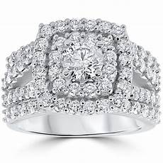 3 ct diamond engagement wedding double cushion halo trio ring 10k white gold ebay