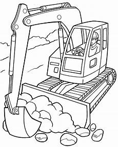 Malvorlagen Bagger Traktor Excavator Coloring Pages