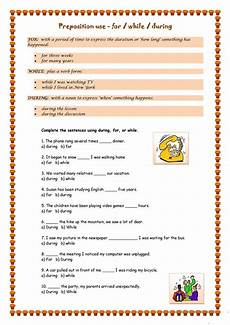 for during or while worksheet free esl printable