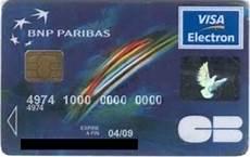 Bank Card Visa Electron Bnp Paribas Col Fr Vi 0006