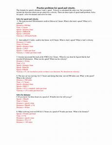 printables of speed and velocity worksheet answer key