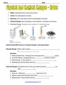 science worksheets chemical and physical changes 12153 physical and chemical changes notes worksheet for 7th 9th grade lesson planet