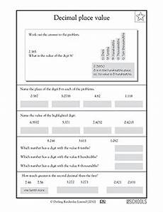 decimal place value and rounding worksheets 5649 5th grade math worksheets decimal place value to the ten thousandths decimal places math