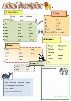 help describing animals english esl worksheets