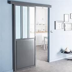 Porte Coulissante Aluminium Gris Atelier Verre Clair