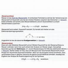was bedeutet synthese ist das richtig synthese analyse wasser chemie