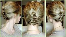 easy braid updo for short to medium hair youtube