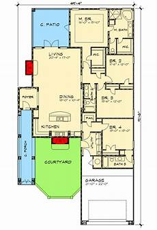 single level house plans with courtyard narrow lot courtyard home plan 36818jg 1st floor