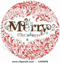 clipart of a retro merry christmas floral wreath royalty free vector illustration by