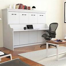 Melbourne Wall Bed W Desk Combo White Murphy Bed