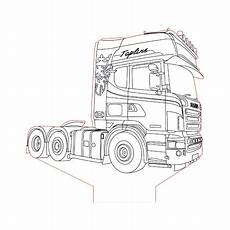 scania truck 2 3d illusion l plan vector file for cnc