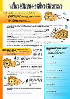 the lion and the mouse fable worksheet free esl