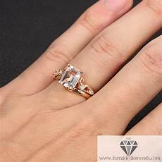 emerald cut morganite unique band diamond engagement ring