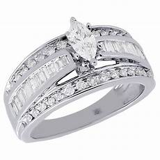 14k white gold marquise cut solitaire diamond wedding engagement ring 1 ct ebay