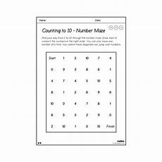 counting to 10 number maze worksheets year 1 maths