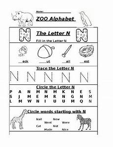 learning the letter n worksheets 24151 the letter n zoo alphabet worksheet by pointer education tpt