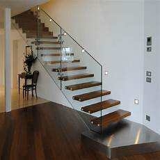 Glass Balustrade Floating Staircase Design Indoor