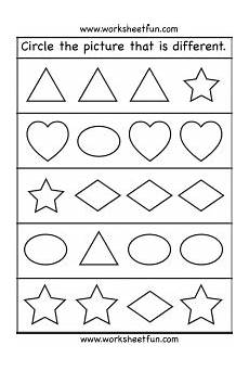 different shapes worksheets 1086 circle the picture that is different 1 worksheet kindergarten worksheets preschool