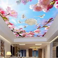 flower wallpaper ceiling custom 3d pigeons blossom ceiling murals blue sky