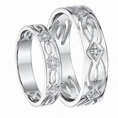 his hers 5 6mm 9ct white gold celtic diamond wedding