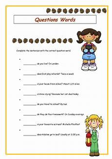 wh question words elementary worksheet