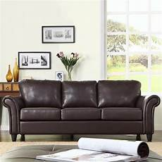 oxford creek contemporary sofa in brown faux leather