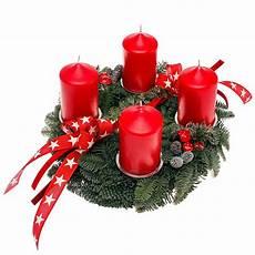 adventskranz mit roten kerzen dekoriert kaufen bei