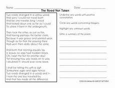 poetry analysis worksheet for the road not taken 25514 common poetry practice grades 6 8 the road not taken poetry lessons teaching poetry