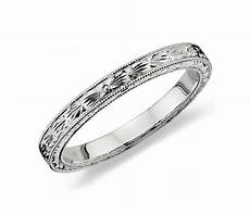 engraved wedding ring in platinum blue nile