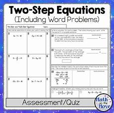 two step equations quiz or worksheet includes word problems tpt