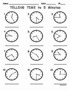 telling time worksheets by 5 minutes telling time to five minutes worksheet by teacher treats tpt