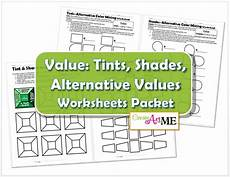 color value tints and shades 4 worksheets packet create art with me