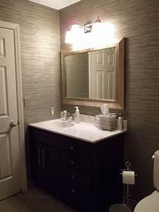 wallpaper ideas for small bathroom vinyl grasscloth wallpaper in my guest bathroom