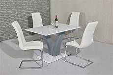 Esstisch Hochglanz Grau - white with grey high gloss dining table and 4 white chairs