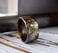 rustic mens wedding band oxidized sterling silver and