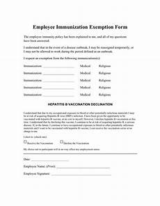 employee immunization exemption form in word and pdf formats