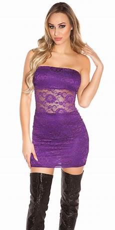 will minikleid trendstylez s 252 sses bandeau minikleid aus spitze violett