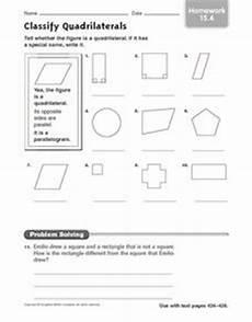classify quadrilaterals homework 15 4 3rd 4th grade