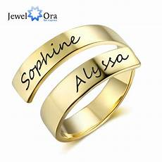 name printed wedding ring personalized gift customize engraved name stainless steel adjustable rings for anniversary