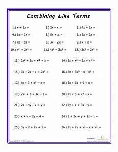 combining like terms combining like terms algebra worksheets math worksheets