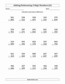 2nd grade math worksheet 3 digit addition and subtraction with regrouping the 3 digit plus minus 3 digit addition and subtraction