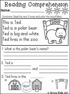 kindergarten reading comprehension passages winter reading activities kindergarten reading