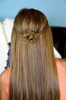 braided flower tieback hairstyles for long hair cute