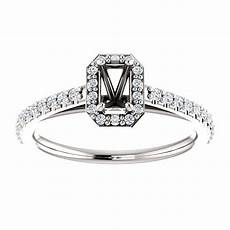14kt white gold 5x3mm emerald halo style engagement ring
