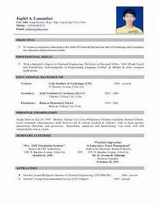 exle of resume format for ojt in 2020 resume format resume exles resume format