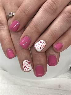 pink valentines gel nails valentines nails gel nail