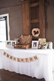 a vintage suitcase and burlap bunting decorated the gift